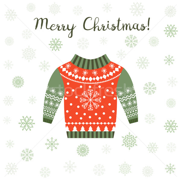 Cute greeting card with ugly Christmas sweater in red and green  Stock photo © Pravokrugulnik