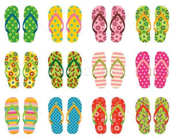 Zestaw kolorowy wektora plaży sandały Zdjęcia stock © Pravokrugulnik