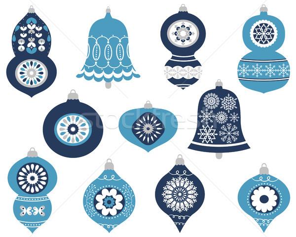 Elegant vector Christmas ornaments in blue and gray colors  Stock photo © Pravokrugulnik