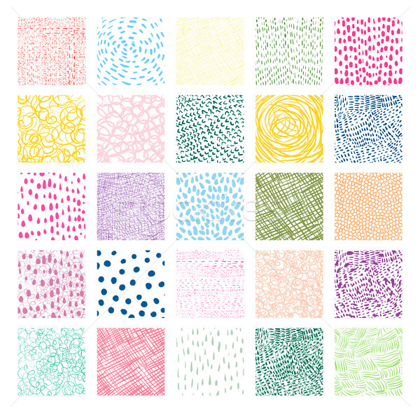 Hand drawn colorful square vector textures with lines, dots  Stock photo © Pravokrugulnik