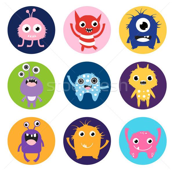 Cute vector monster stickers or labels Stock photo © Pravokrugulnik