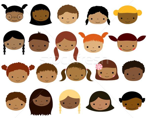 Foto stock: Bonitinho · vetor · crianças · faces · escuro · pele
