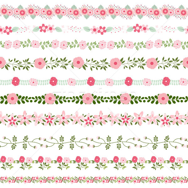 Vector floral borders in pink and green colors - could be connected seamlessly Stock photo © Pravokrugulnik