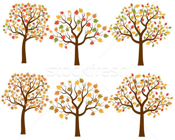 Colorful autumn tree silhouettes vector collection Stock photo © Pravokrugulnik