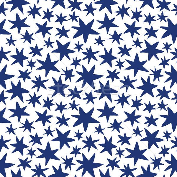 Vektor végtelen minta kézzel rajzolt kék csillagok fehér Stock fotó © Pravokrugulnik