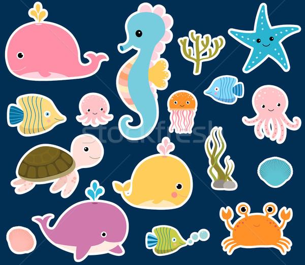 Aranyos vektor tengeri állatok matricák baba dizájnok Stock fotó © Pravokrugulnik