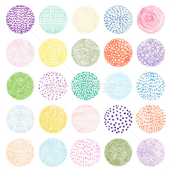 Colorful Hand drawn vector texture circles with lines and dots Stock photo © Pravokrugulnik