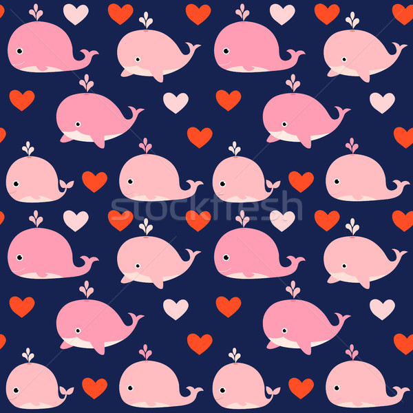 Cute seamless vector pattern with pink whales Stock photo © Pravokrugulnik