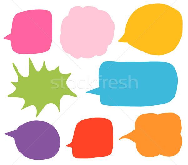 Doodle vector set with colorful speech bubble shapes  Stock photo © Pravokrugulnik