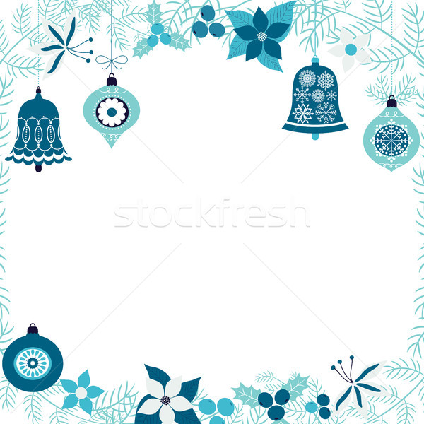 Vector winter border with pine branches and Christmas ornaments  Stock photo © Pravokrugulnik