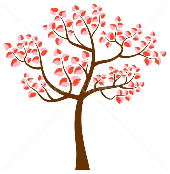 Vector tree with curvy branches and heart shaped leaves in pink  Stock photo © Pravokrugulnik
