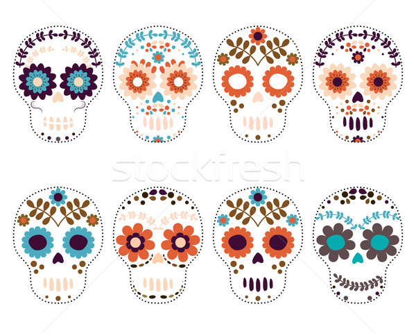 Vector set Day of the Dead skulls, sugar skulls. Stock photo © Pravokrugulnik