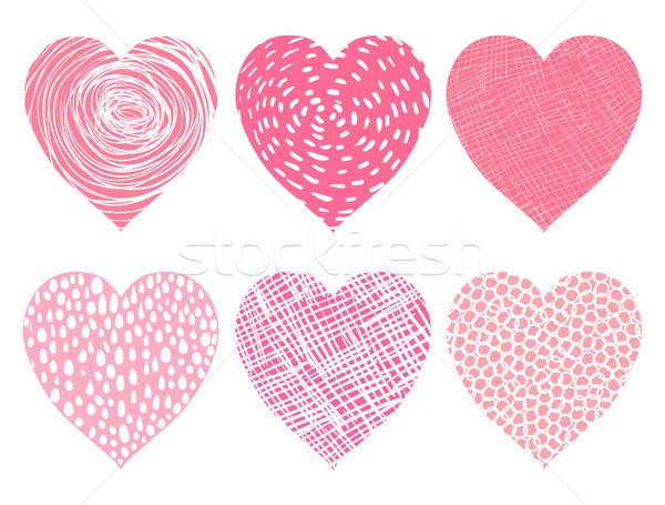 Sevimli pembe vektör kalpler sevmek valentine Stok fotoğraf © Pravokrugulnik