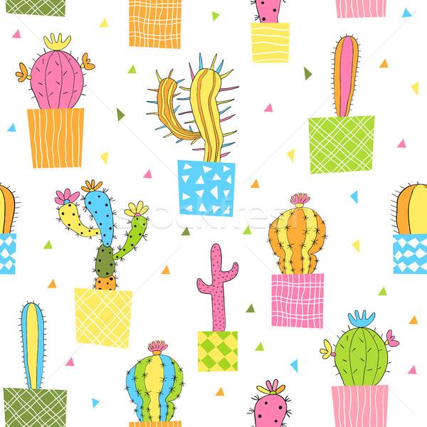 Aranyos vektor végtelen minta színes kaktusz növények Stock fotó © Pravokrugulnik