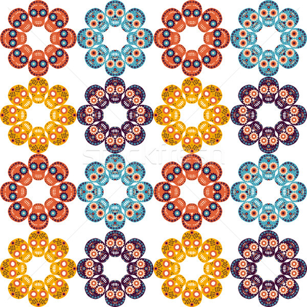 Stock photo: Cute vector seamless pattern with skulls in the shape of flowers