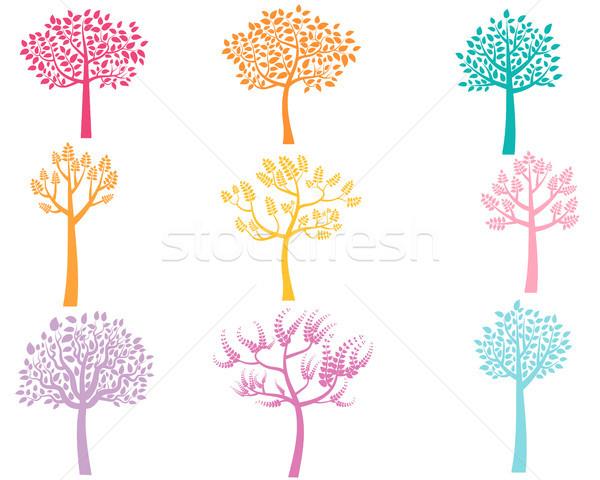 Vektör renk ağaç siluetleri dizayn turuncu Stok fotoğraf © Pravokrugulnik