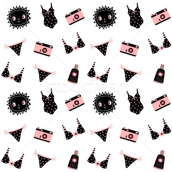 Cute fashion summer and holiday seamless pattern with sun, camera and swimsuits in black and pink co Stock photo © Pravokrugulnik