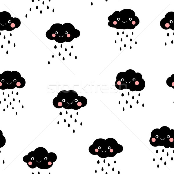 Cute black and white rainy clouds seamless pattern Stock photo © Pravokrugulnik