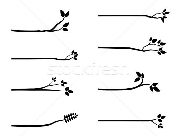 Black vector tree branch silhouettes with leaves Stock photo © Pravokrugulnik