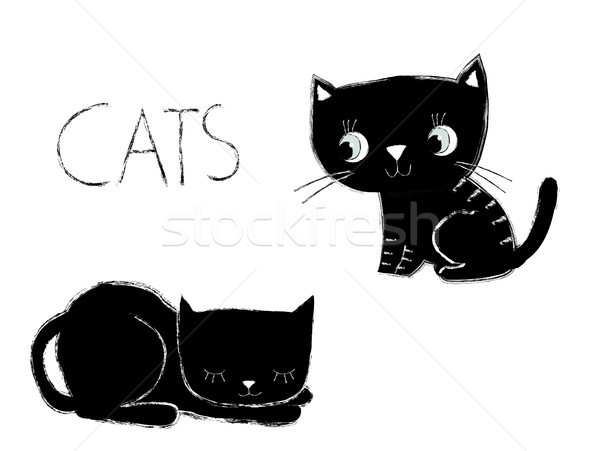 Bonitinho vetor artístico preto e branco gatos textura Foto stock © Pravokrugulnik
