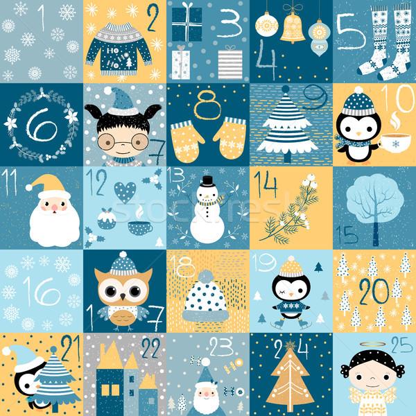 Karácsony advent naptár visszaszámlálás kék színek Stock fotó © Pravokrugulnik
