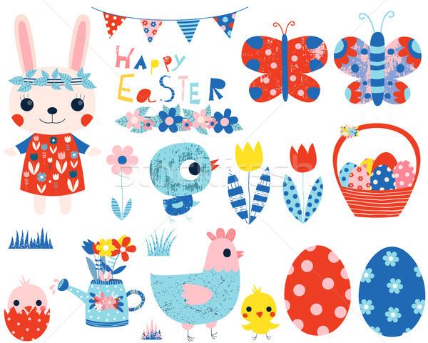 Сток-фото: Пасха · вектора · коллекция · Cute · розовый · Bunny