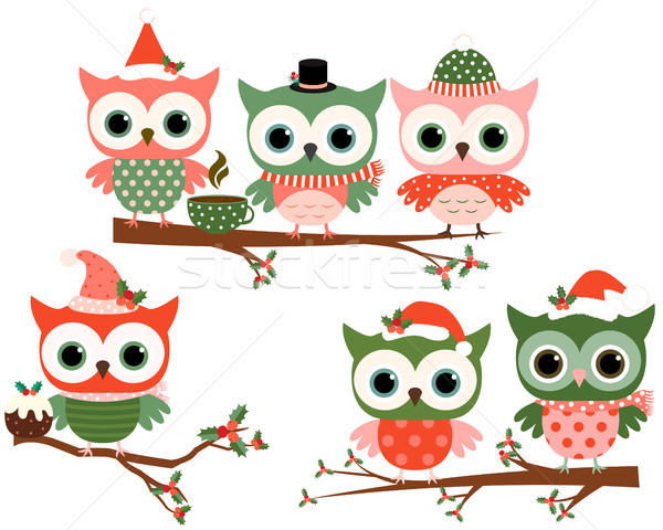 Cute Christmas owl characters on tree branches in green and red colors for greeting cards and holida Stock photo © Pravokrugulnik