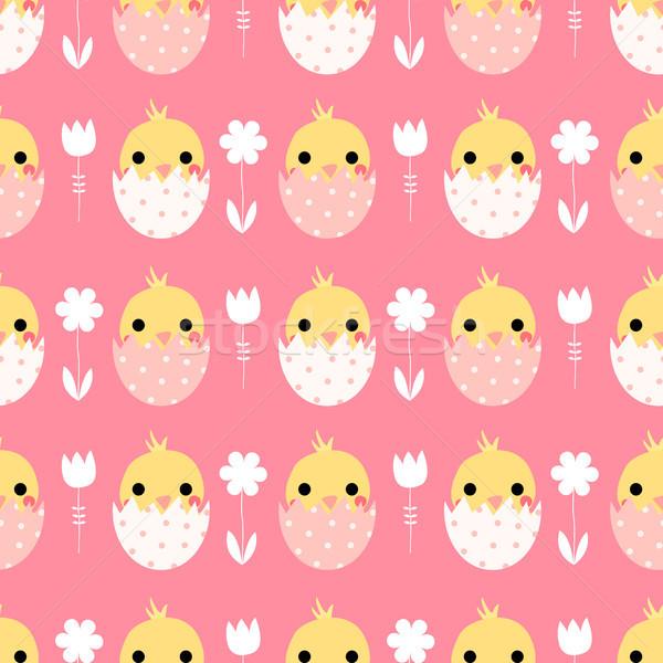 Bonitinho vetor páscoa garotas ovos Foto stock © Pravokrugulnik