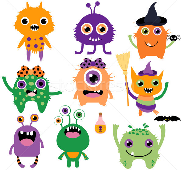Cute, funny and silly vector monsters for Halloween Stock photo © Pravokrugulnik