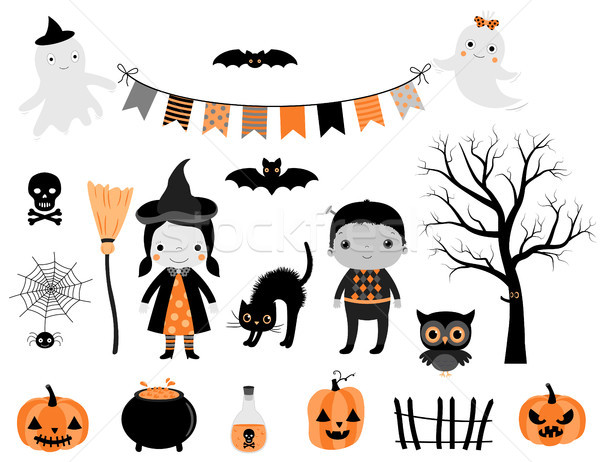 Stylish Halloween set in grey, orange and black colors with kid characters in costumes and design el Stock photo © Pravokrugulnik