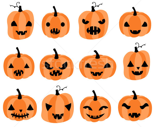 Vector set with carved Halloween pumpkins with different face expressions for greeting cards, invita Stock photo © Pravokrugulnik