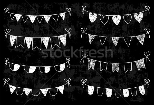 Pizarra garabato banderas corazones boda diseños Foto stock © Pravokrugulnik