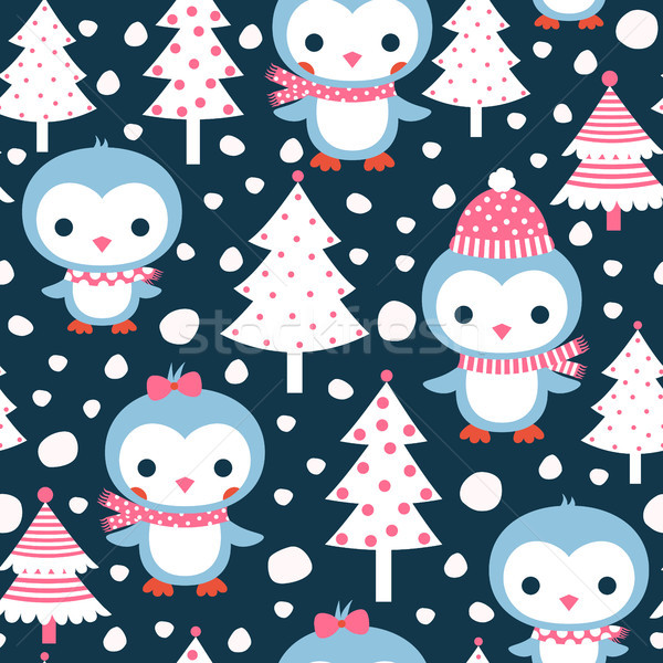 Cute seamless pattern with penguin characters and Christmas tree Stock photo © Pravokrugulnik