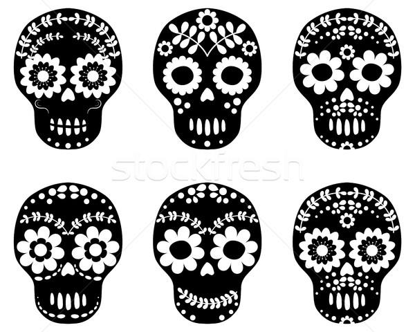 Black and white floral sugar skulls Stock photo © Pravokrugulnik