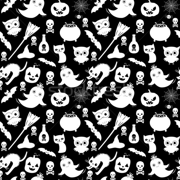 Cute black and white vector seamless Halloween pattern in flat style with cartoon animals and object Stock photo © Pravokrugulnik