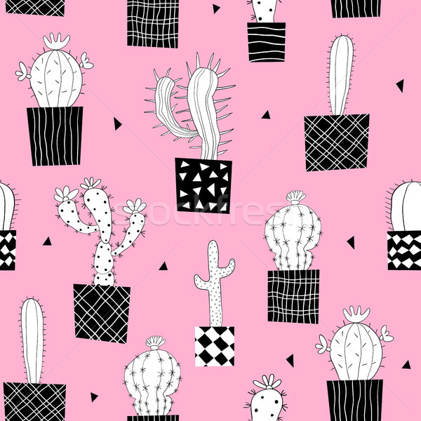 Vector seamless pattern with cactus plants in black and white  Stock photo © Pravokrugulnik