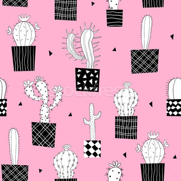 Vector cactus planten zwart wit roze Stockfoto © Pravokrugulnik