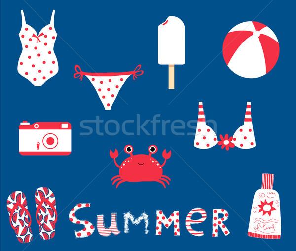 Cute summer set with vector elements for beach, ocean and travel Stock photo © Pravokrugulnik