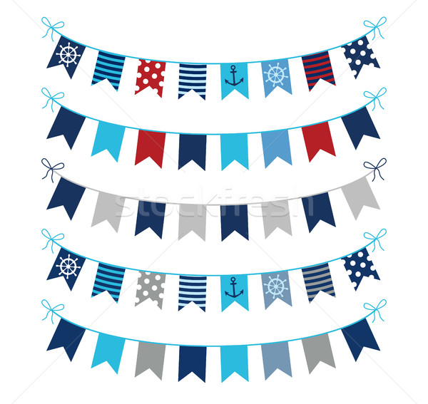 Nautical bunting garlands in blue, red and grey Stock photo © Pravokrugulnik