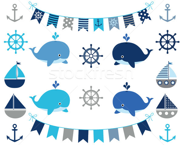 Nautical boy design elements in blue and grey colors Stock photo © Pravokrugulnik