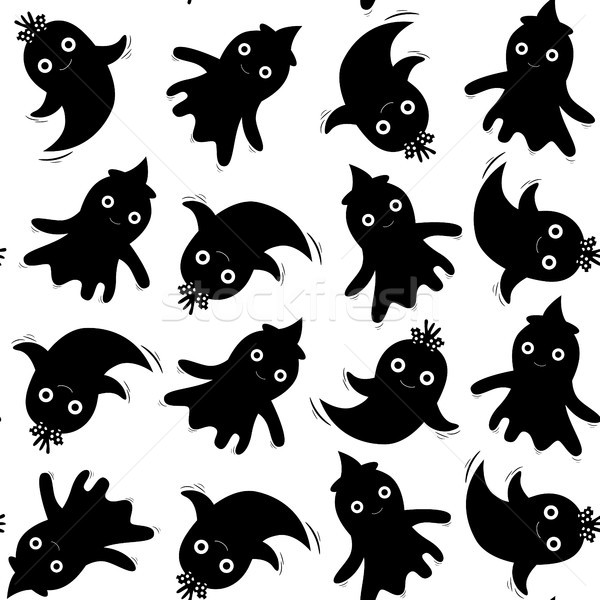 Cute seamless pattern in black with ghosts for Halloween designs, kids and baby clothing and backgro Stock photo © Pravokrugulnik