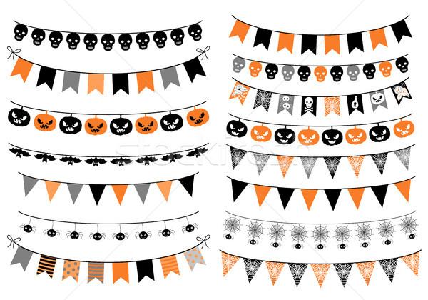 Vetor conjunto halloween laranja preto cinza Foto stock © Pravokrugulnik