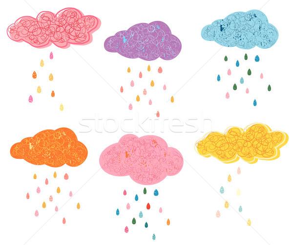 Aranyos vektor felhők színes esőcseppek mintázott Stock fotó © Pravokrugulnik