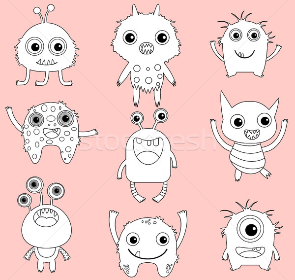 Cute vector monsters or aliens clip art with black outlines Stock photo © Pravokrugulnik