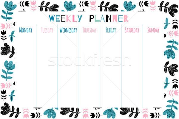 Elegáns virágmintás vektor heti tervező sablon Stock fotó © Pravokrugulnik