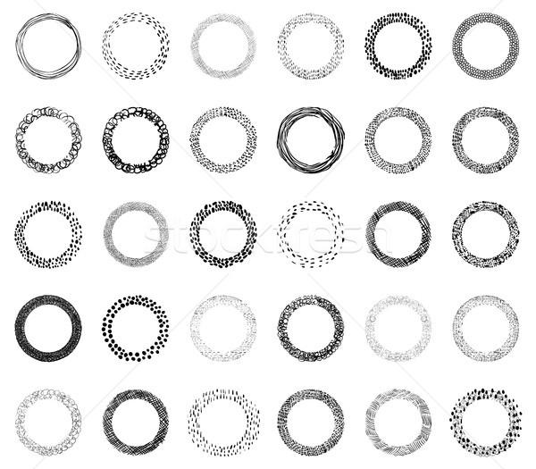 Vector doodle frames with, lines, dots and brush strokes Stock photo © Pravokrugulnik