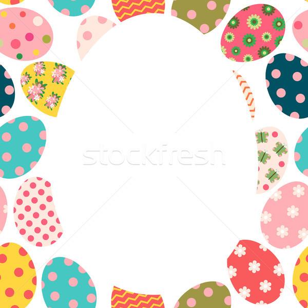 Cute kleurrijk Pasen brochure wenskaart gekleurde eieren Stockfoto © Pravokrugulnik