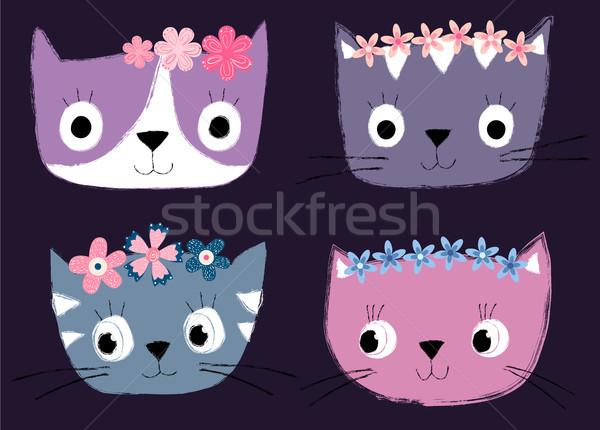 Aranyos kézzel rajzolt vektor macska arcok virágmintás Stock fotó © Pravokrugulnik