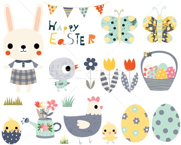 Kellemes húsvétot jókedv vektor szett aranyos állatok nyuszi Stock fotó © Pravokrugulnik