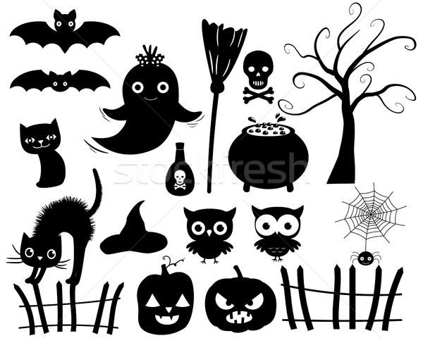 Cute vettore halloween sagome nero albero Foto d'archivio © Pravokrugulnik